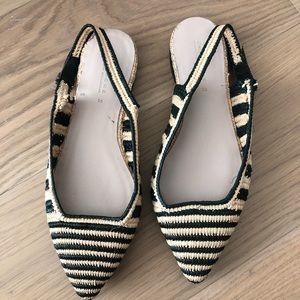 Zara black tan straw woven slides sling back flats